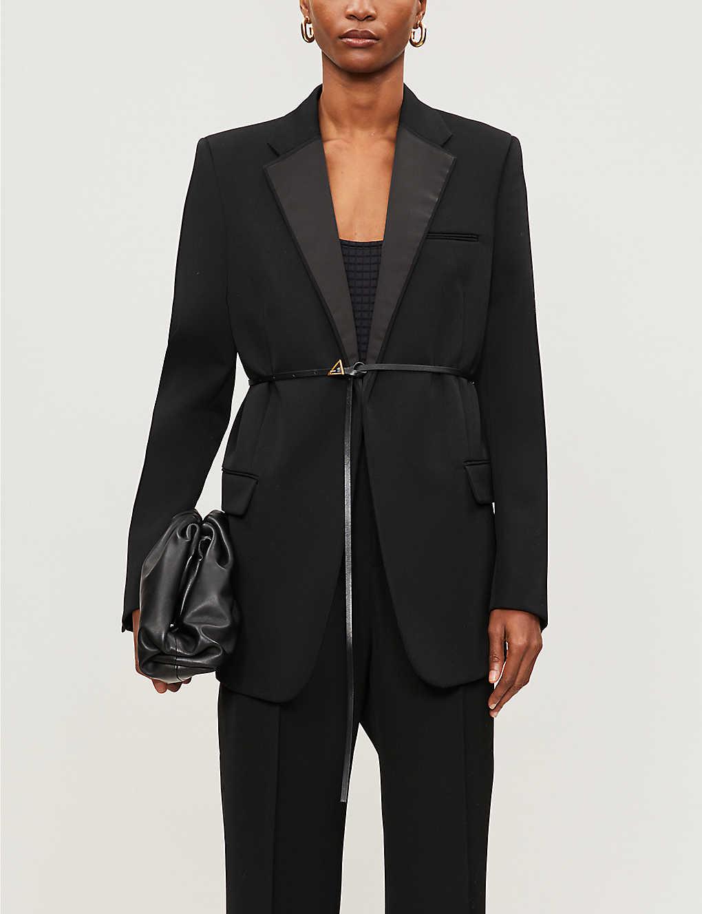 BOTTEGA VENETA: Satin-trim belted wool blazer
