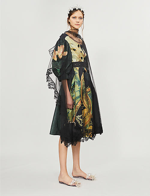SIMONE ROCHA Concubine-print silk and tulle coat