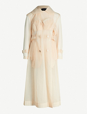 SIMONE ROCHA Embroidered ruffled-trim mesh trench coat