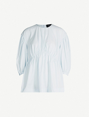 SIMONE ROCHA Smocked cotton-poplin shirt