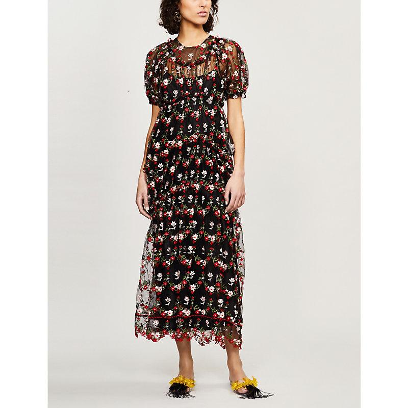 Simone Rocha Dresses FLORAL-EMBROIDERED TULLE MIDI DRESS