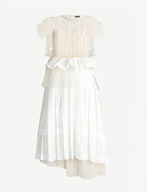 SIMONE ROCHA Gathered tulle and satin midi dress
