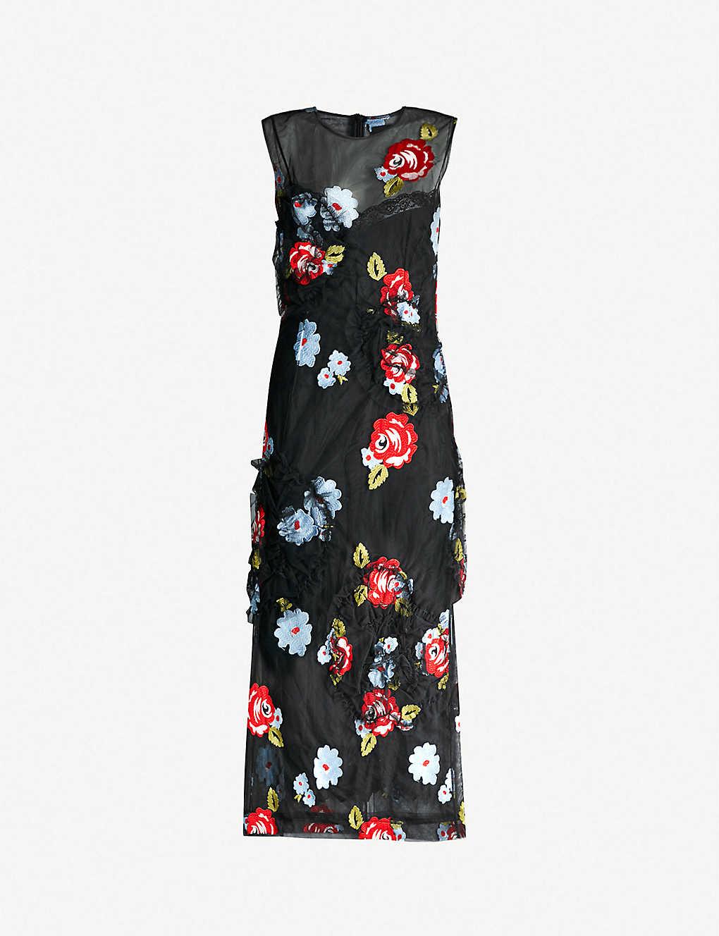 2bcab33fa71cc SIMONE ROCHA - Floral-embroidered mesh midi dress | Selfridges.com