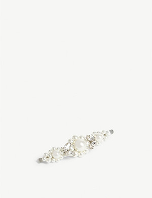SIMONE ROCHA Large flower pearl and crystal hair clip