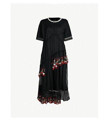 cc82eee9c758ce SIMONE ROCHA Floral-embroidered cotton midi dress (Black