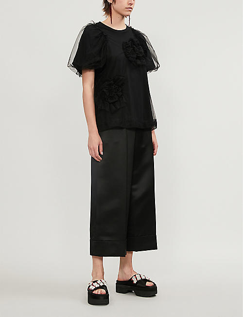 SIMONE ROCHA Ruffled short-sleeved cotton-blend top