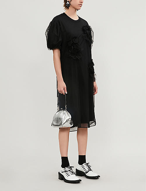 SIMONE ROCHA Ruched mesh-overlay cotton-blend dress