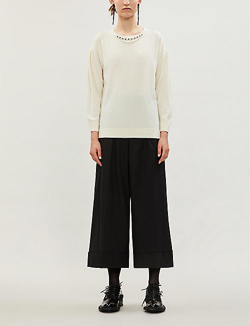 SIMONE ROCHA Pearl embellished wool, silk and cashmere-blend jumper