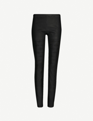 HAIDER ACKERMANN Cut-out skinny high-rise leather trousers