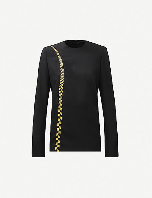 HAIDER ACKERMANN Chevron-embroidery woven top