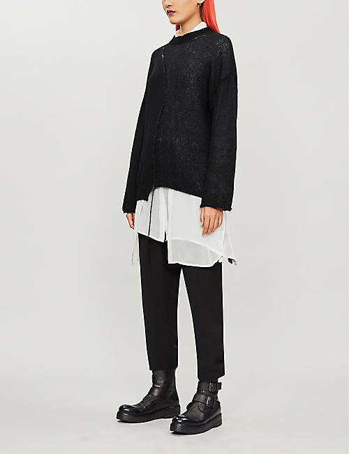 ISABEL BENENATO Suspender straight cropped wool trousers