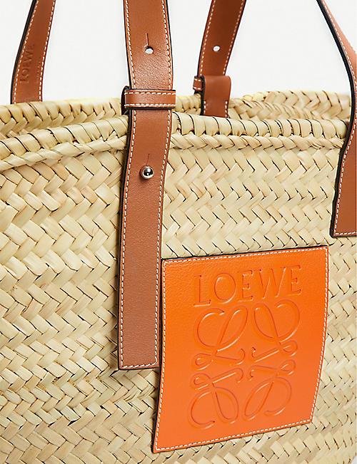 410f123ec4ae LOEWE Loewe x Paula s Ibiza medium leather-trimmed woven raffia tote