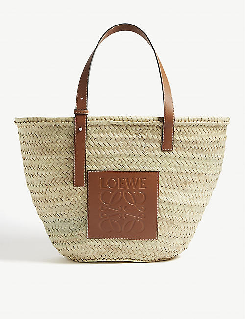 LOEWE Embossed-patch raffia basket bag