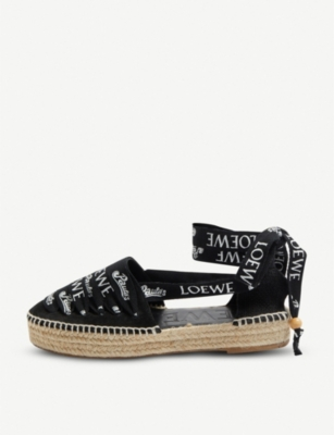 LOEWE Loewe x Paula's Ibiza printed laces cotton and leather sandals