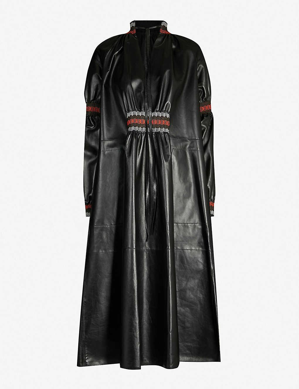 06fb059ad4f4 LOEWE - Embroidered leather midi dress | Selfridges.com