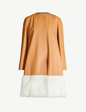 LOEWE Shearling-trim leather coat