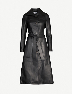 LOEWE Belted leather wrap coat
