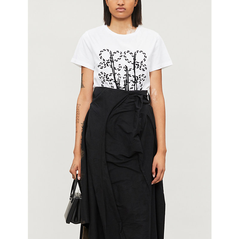 Loewe T-shirts ANAGRAM-EMBROIDERED COTTON-JERSEY T-SHIRT