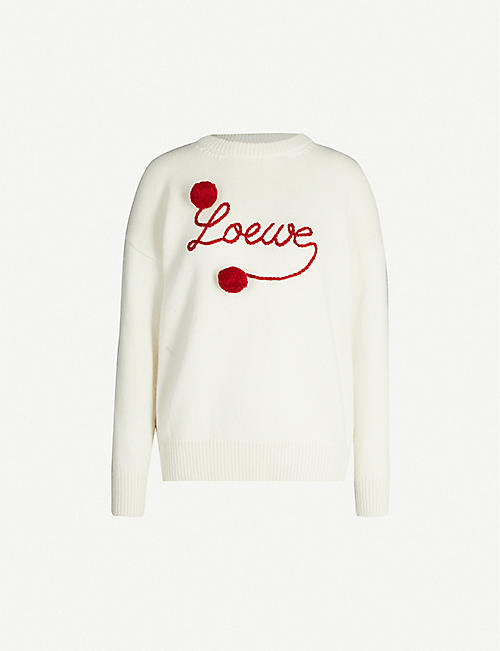 LOEWE Brand-embroidered relaxed-fit wool jumper