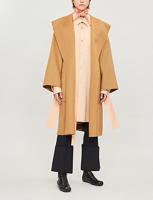 LOEWE Hooded wool and cashmere-blend wrap coat
