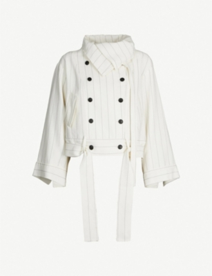 DANIEL GREGORY NATALE Funnel-neck double-breasted striped crepe jacket