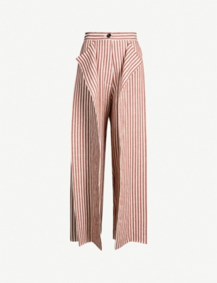 DANIEL GREGORY NATALE High-rise striped cotton and linen-blend wide-leg trousers