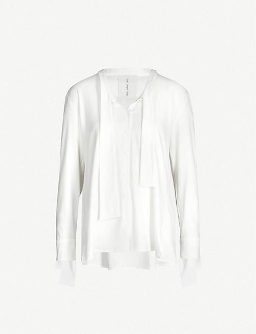 14324c121031 DANIEL GREGORY NATALE Tie-neck cotton and silk-blend shirt