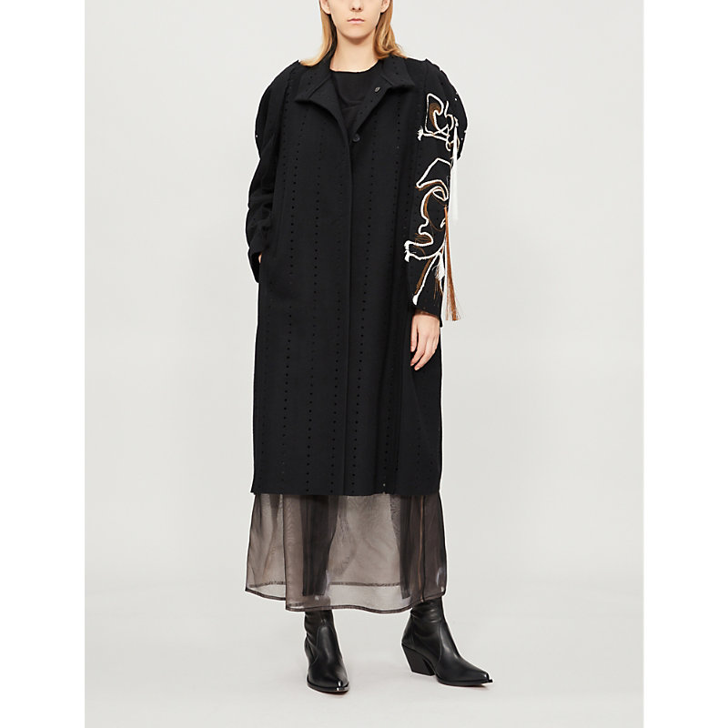 LITKOVSKAYA Frida Thread-Detail Wool-Blend Coat in Black