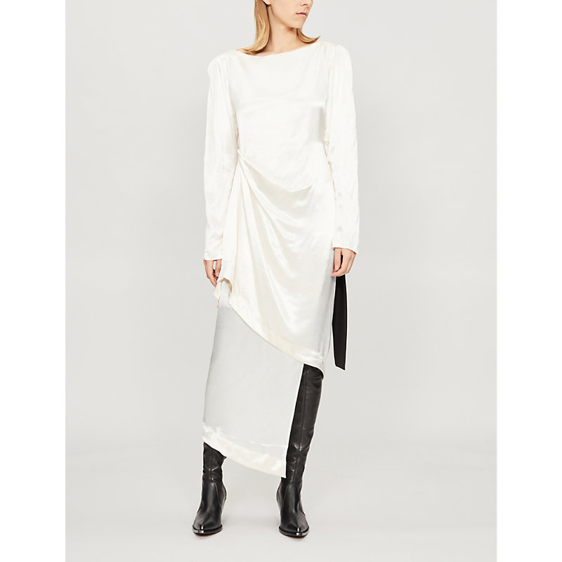 LITKOVSKAYA Assymetric Draped Silk-Satin Dress in Cream