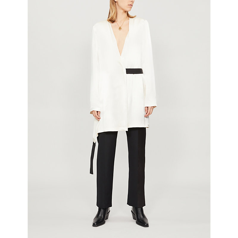 LITKOVSKAYA La Adelita Satin Wrap Jacket in White