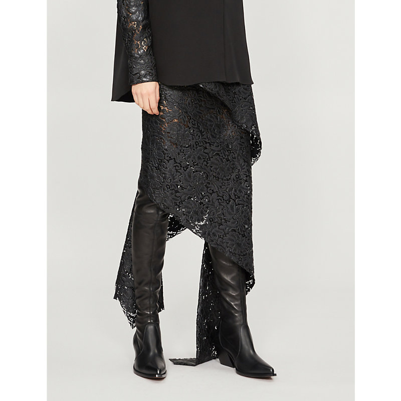 LITKOVSKAYA Broken Column Lace Skirt in Black