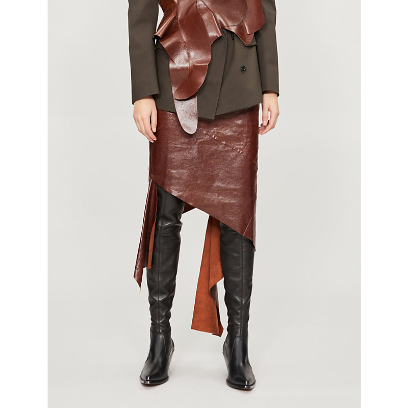 LITKOVSKAYA Viva Assymetric Leather Skirt in Brown