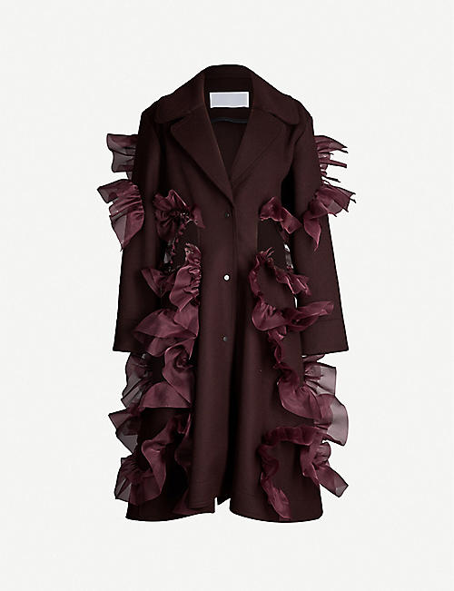 ROBERTS WOOD Frilled wool coat