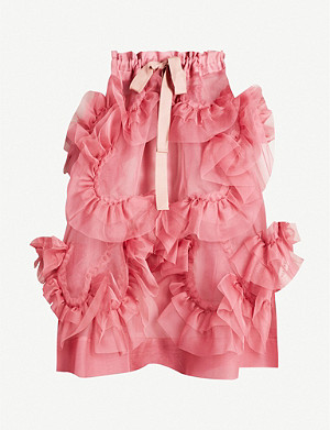 ROBERTS WOOD Ruffled silk-organza midi skirt