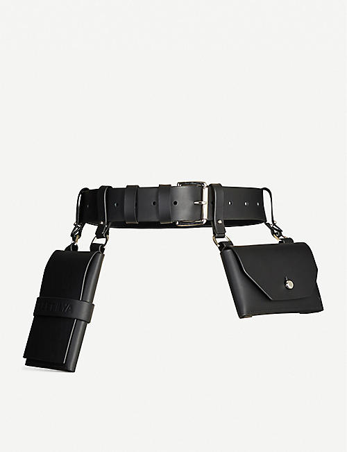 FLEET ILYA Double pocket leather belt