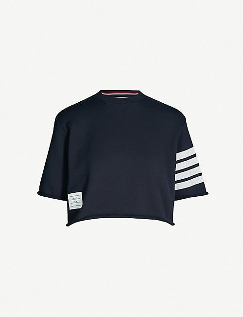 a92a98dacab0 THOM BROWNE Striped-sleeve cropped cotton-jersey sweatshirt
