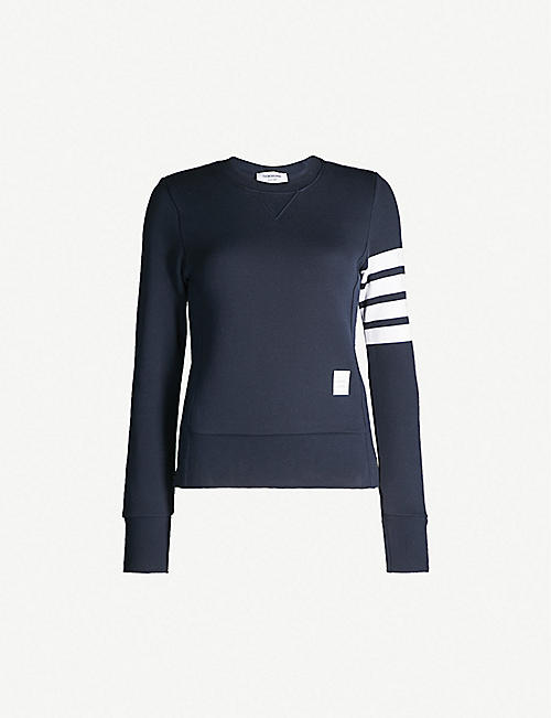THOM BROWNE 4-bar Stripe cotton-jersey sweatshirt e22879243