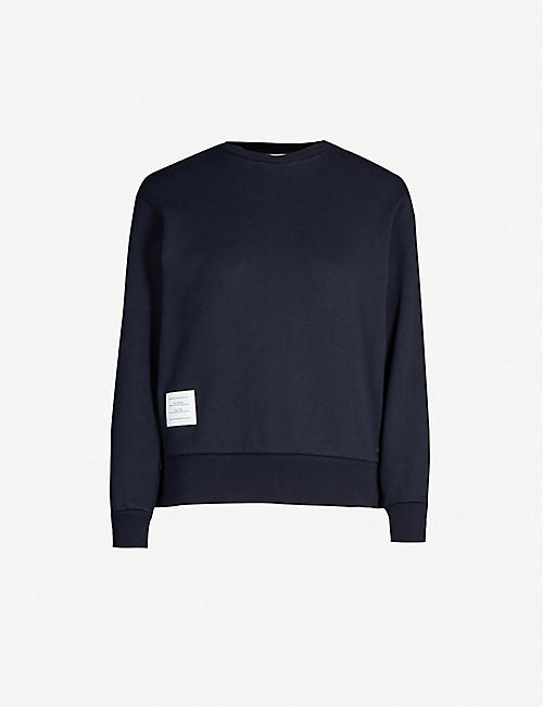 THOM BROWNE Striped cotton-jersey sweatshirt