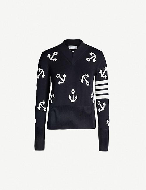 d3124967f98 THOM BROWNE Anchor-motif 4-bar cotton knit jumper