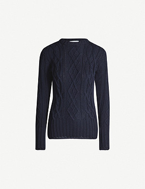 THOM BROWNE Long-sleeved cable-knit wool jumper