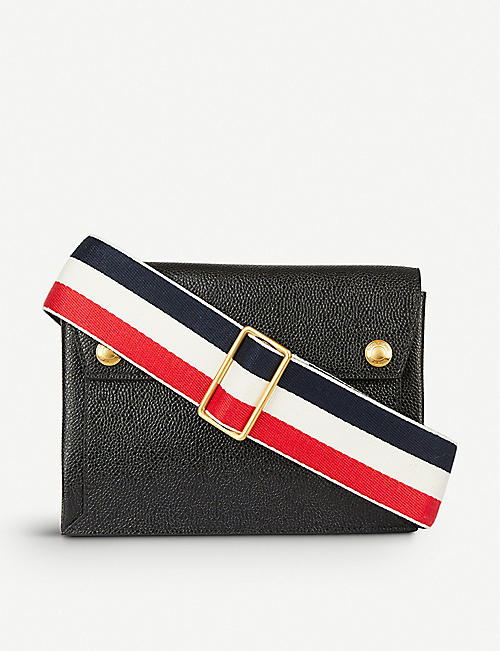 THOM BROWNE Mail envelope pebbled leather cross-body bag