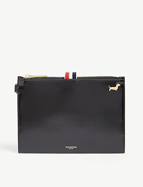 THOM BROWNE Leather large coin pouch