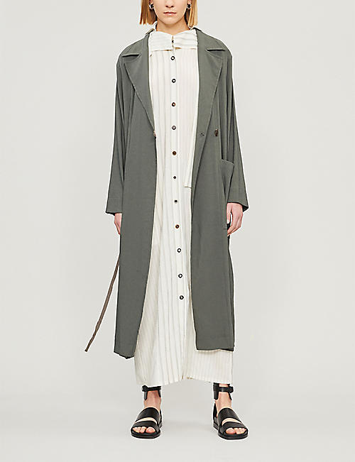 SONG FOR THE MUTE Belted long linen-blend coat