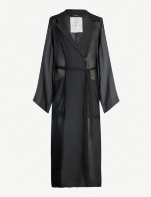 SONG FOR THE MUTE Belted notch-lapel woven coat