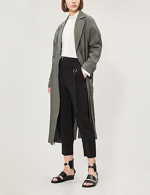 SONG FOR THE MUTE Mid-rise tapered cropped crepe trousers