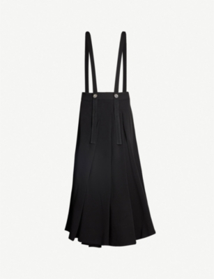 SONG FOR THE MUTE Pleated woven pinafore midi skirt