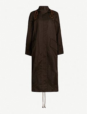 SONG FOR THE MUTE Funnel-neck drawstring-hem shell hooded coat