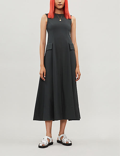 SONG FOR THE MUTE Pleated-skirt crepe dress