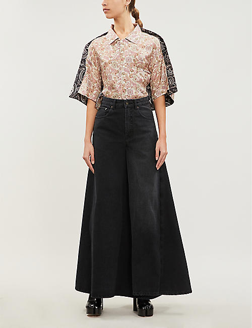 Y/PROJECT High-rise cotton-denim maxi skirt