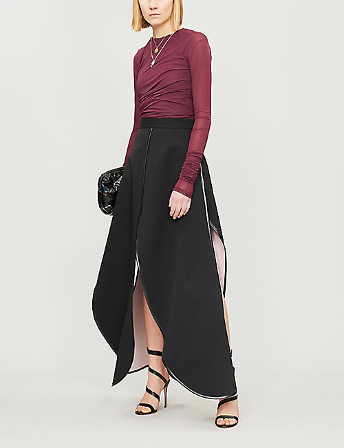 Y/PROJECT Split hem high-rise cotton maxi skirt
